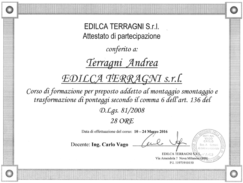 Certificazioni Edilca Terragni